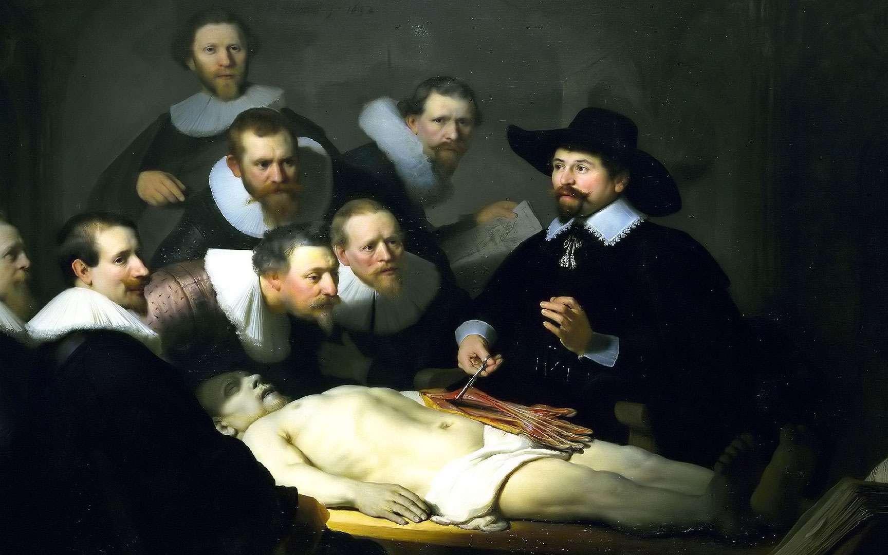 Avec la renaissance, le nombre d'autopsies et d'études anatomiques sur des cadavres humains a considérablement augmenté. © Leçon d'anatomie du docteur Tulp, Rembrandt, 1632, huile sur toile