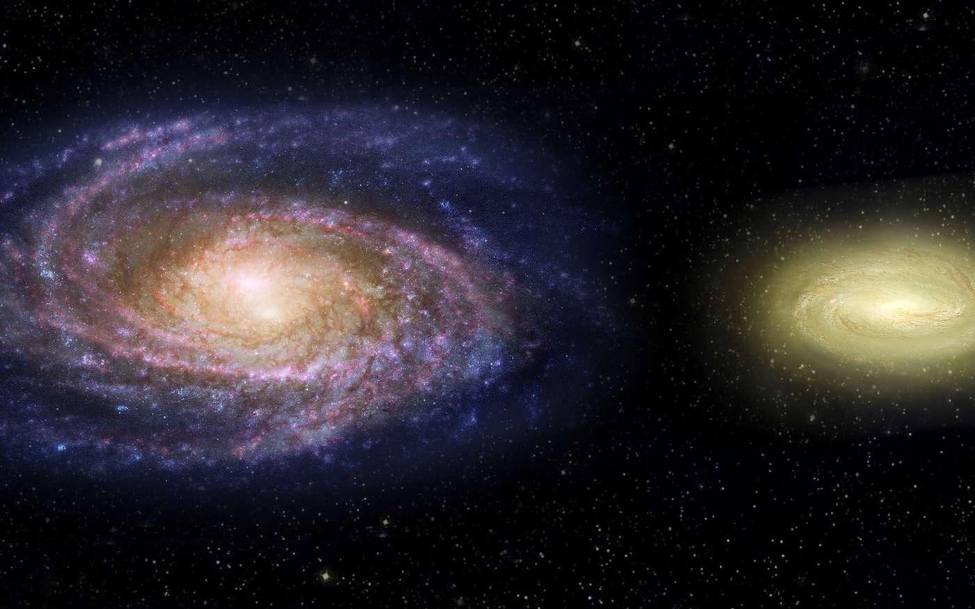 Sur cette vue d'artiste, la Voie lactée est comparée à MACS2129-1 qui, bien que deux fois plus petite, contiendrait trois fois plus de masse. Étrangement, MACS2129-1 n'est plus un lieu de formation de jeunes étoiles bleues. © Nasa, ESA, Z. Levy STScI