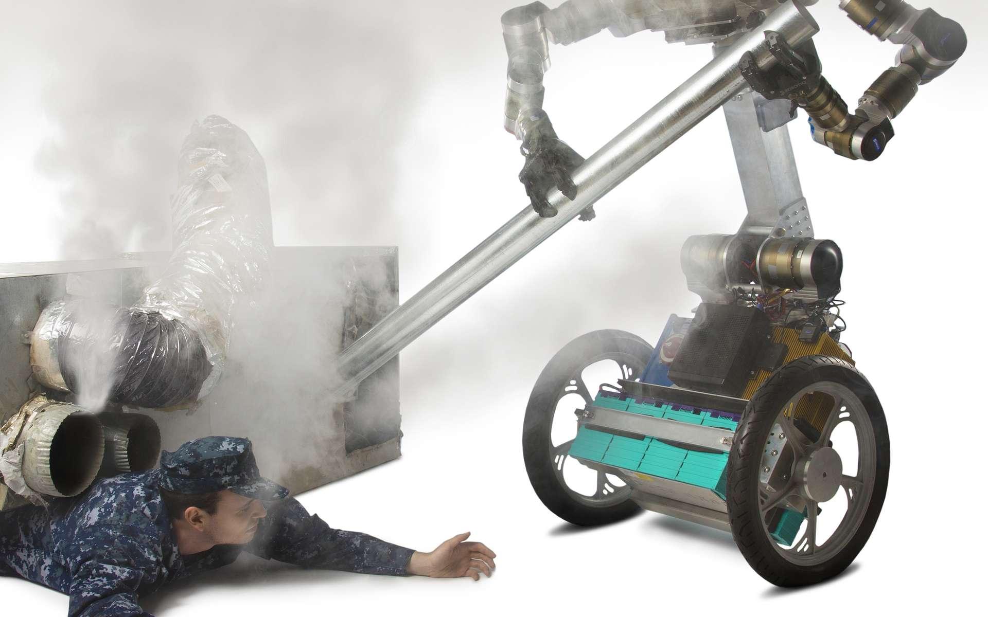 Dans cette autre simulation, le robot Golem Krang a compris comment se servir d'un tuyau pour faire levier et dégager la personne coincée sous les débris. © Georgia Institute of Technology