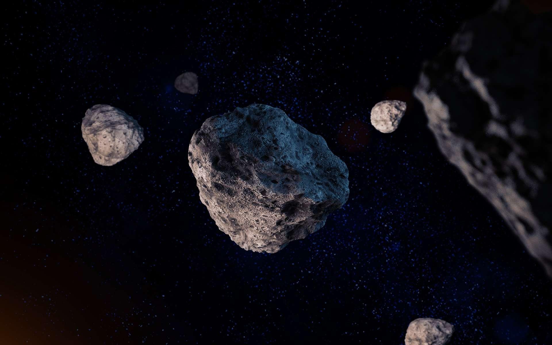 Illustration d'un cortège d'astéroïdes. © trahko, fotolia