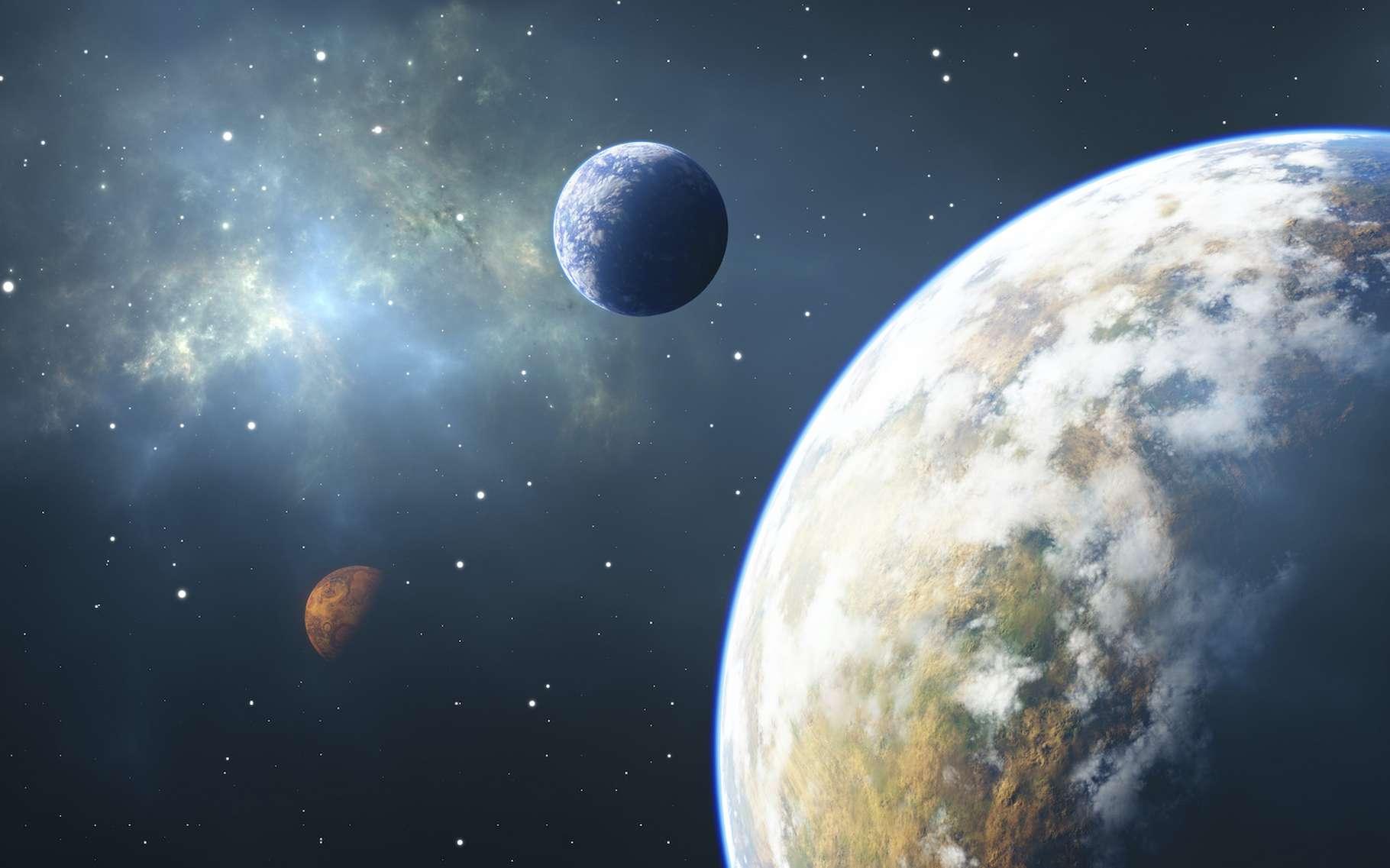 Des chercheurs de l'université de Californie à Riverside (États-Unis) estiment que les télescopes spatiaux Hubble et James Webb pourraient nous apporter de précieuses informations complémentaires concernant la composition des atmosphères des exoplanètes qui tournent autour d'étoiles de type M dans la Voie lactée. © Peter Jurik, Adobe Stock