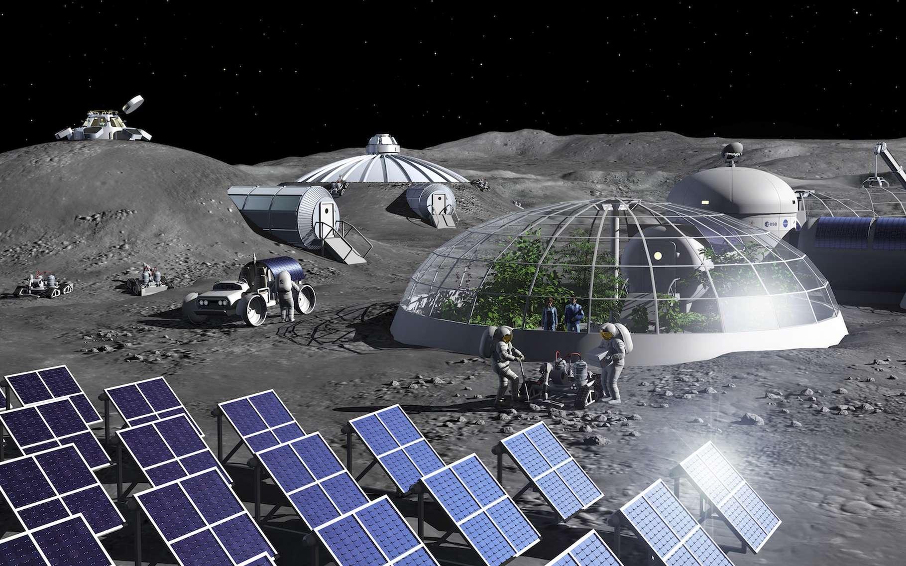 Les futures bases lunaires auront besoin d'oxygène. Et les colons vivant sur place pourront le produire à partir du régolithe lunaire. C'est ce qu'imaginent les ingénieurs de l'Agence spatiale européenne (ESA). © P. Carril, ESA