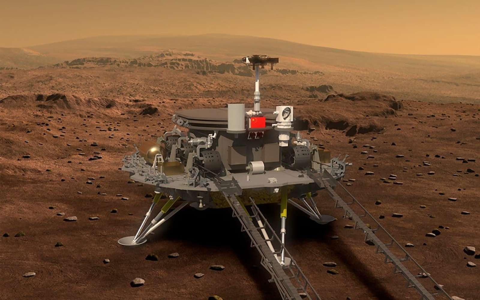 Vue d'artiste de l'atterrisseur martien de l'Agence spatiale chinoise. © CNSA
