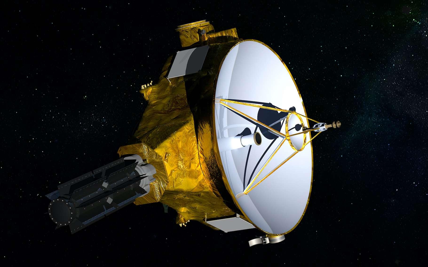 La sonde New Horizons poursuit sur chemin vers l'espace interstellaire. Elle vient de mettre en lumière les positions différentes de deux étoiles par rapport à celles qu'elles ont, observées depuis la Terre. © Nasa