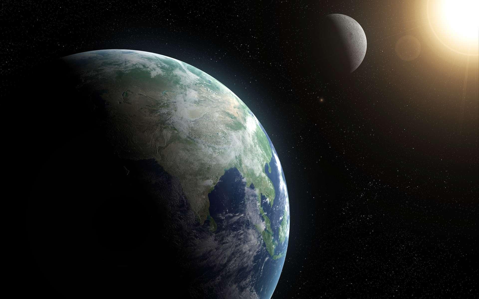 Le champ magnétique terrestre peut dire merci à la Lune. En effet, une puissance de 3.700 milliards de watts est constamment fournie à la Terre par transfert des énergies gravitationnelles et de rotation du système Terre-Lune-Soleil. © Sebastian Kaulitzki, Shutterstock