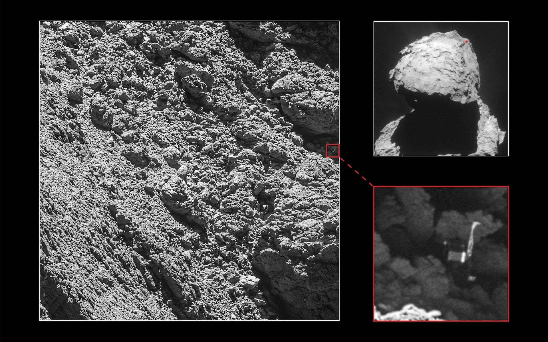 Le robot Philae, large d'un mètre, a été retrouvé sur le noyau de la comète Tchouri à l'endroit supposé par le Cnes. Cette image a été prise par Rosetta le 2 septembre 2016, à 2,7 km de distance. © ESA, Rosetta, MPS for OSIRIS Team MPS, UPD, LAM, IAA, SSO, INTA, UPM, DASP, IDA, NavCam – CC BY-SA IGO 3.0