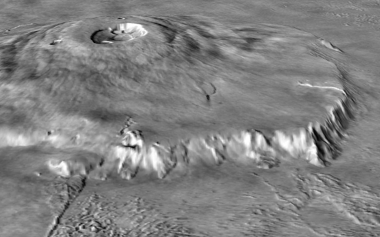 En combinant les données de l'altimètre laser de la sonde Mars Global Surveyor (MOLA) et les images obtenues par les sondes Viking, les scientifiques ont reconstitué cette vue d'Olympus Mons. Pour mieux montrer le relief de l'édifice, ils ont multiplié par 10 l'échelle verticale. Crédit Nasa