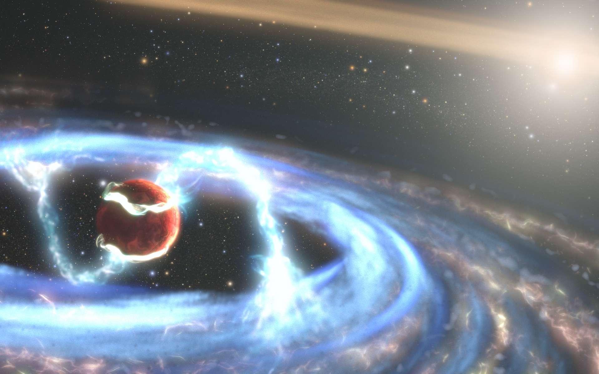 Des chercheurs ont exploité la sensibilité aux rayons ultraviolets du télescope spatial Hubble pour observer une exoplanète géante en formation. Sur cette vue d'artiste, le gaz extrêmement chaud qui tombe sur la planète, transporté par des lignes de champ magnétique de son disque circumplanétaire vers son atmosphère. © Nasa, ESA, STScI, Joseph Olmsted (STScI)