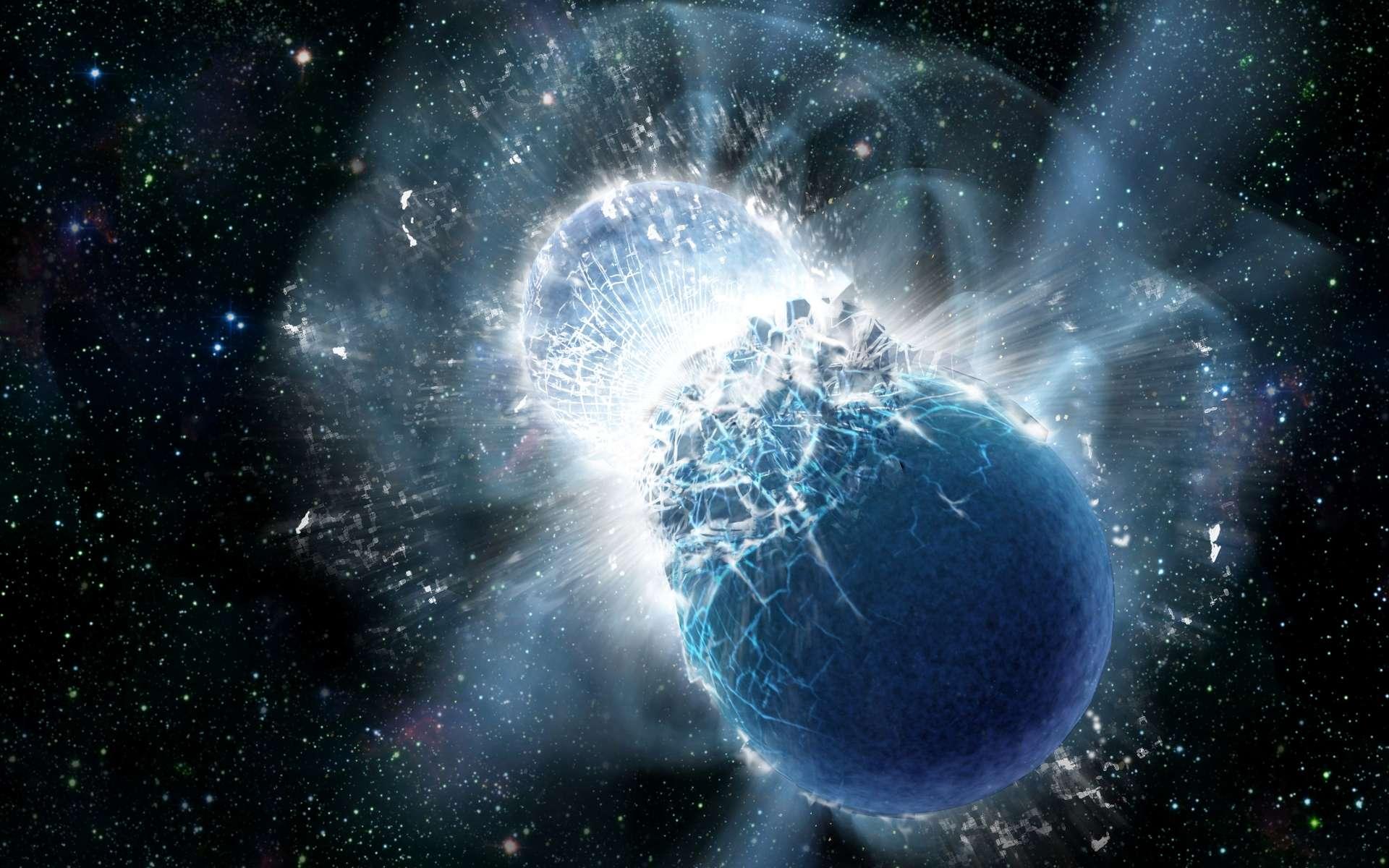 Une étoile à neutrons est un astre très dense résultant de l'effondrement gravitationnel d'une grosse étoile explosant en supernova SN II. Lorsqu'elles sont en couple, les étoiles à neutrons peuvent finir par entrer en collision et fusionner, engendrant une bouffée d'ondes gravitationnelles et une puissante émission d'ondes électromagnétiques dans toutes les longueurs d'onde, dont le visible ; cette émission est détectable sous forme de sursauts gamma. © Dana Berry, SkyWorks Digital