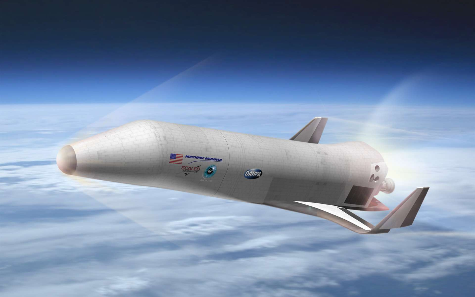 La Darpa (Defense Advanced Research Projects Agency) développe un projet de véhicule suborbital dans le cadre de la première partie du programme XS-1. Ici, le concept proposé par Northrop Grumman, Scaled Composites et Virgin Galactic à l'agence américaine. © Northrop Grumman