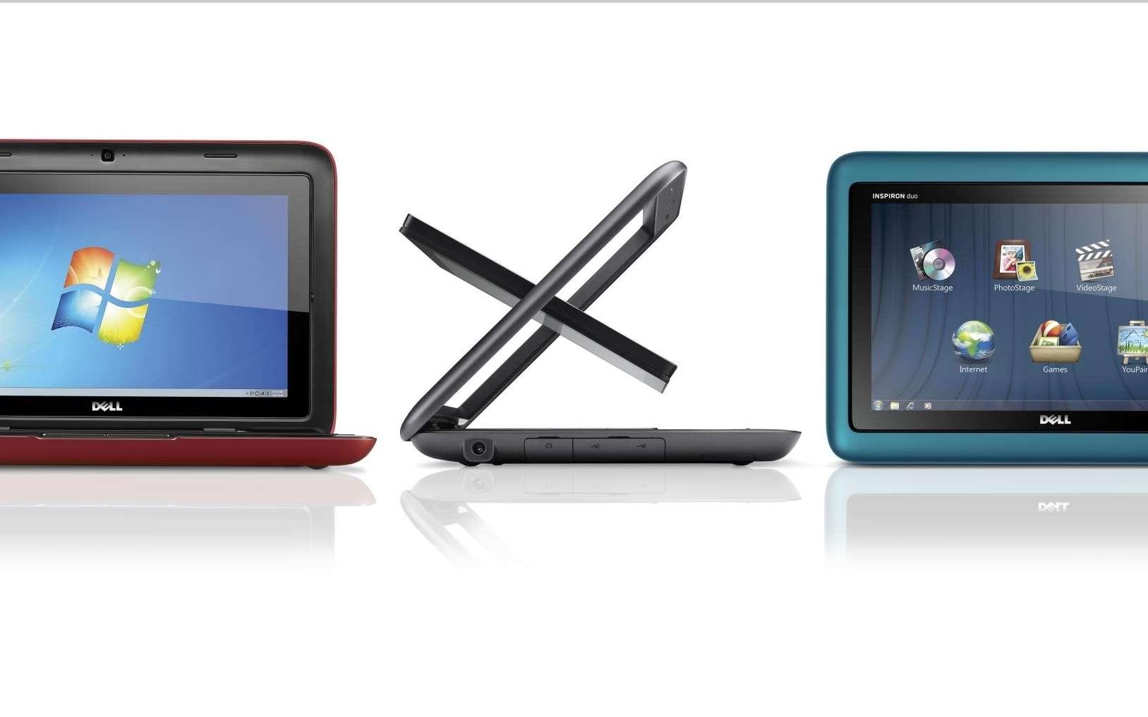 1- Ouvrez. 2- Pivotez l'écran. 3- Rabattez-le. C'est une tablette... © Dell