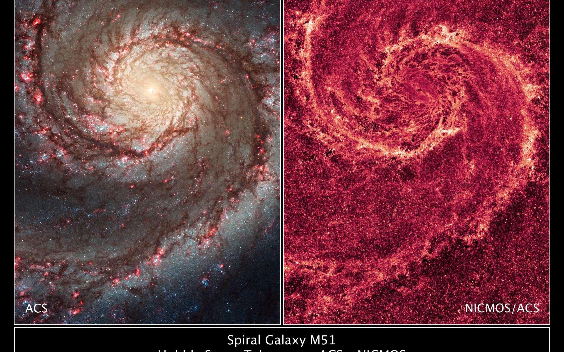 Dans le visible (à gauche) ou en infrarouge (à droite), la galaxie du Tourbillon nous montre ses deux visages. © Nasa/Esa/Hubble Heritage Team