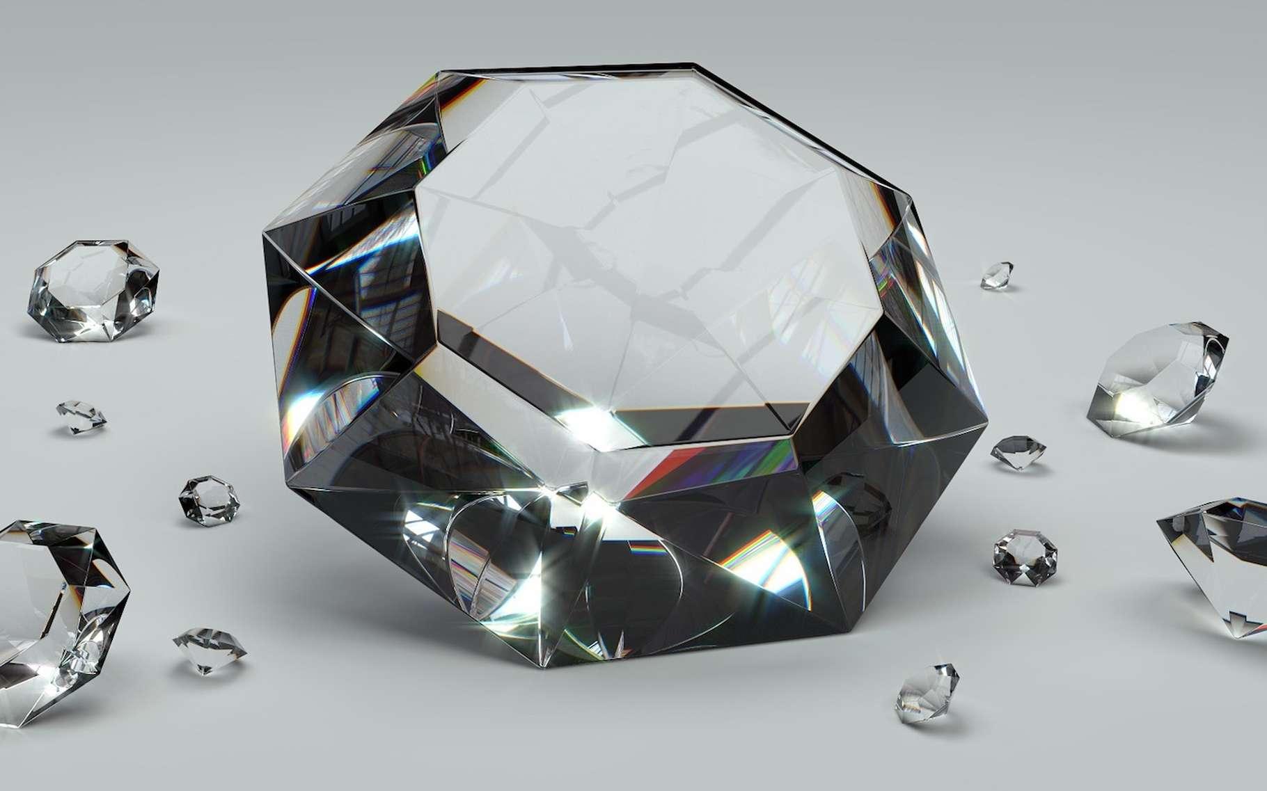 Les diamants sont qualifiés de « métastables » car, dans des conditions normales, leur évolution n'est pas perceptible à l'échelle humaine. Toutefois, lorsque températures et pressions augmentent, les choses changent… © ColiN00B, Pixabay, CC0, DP