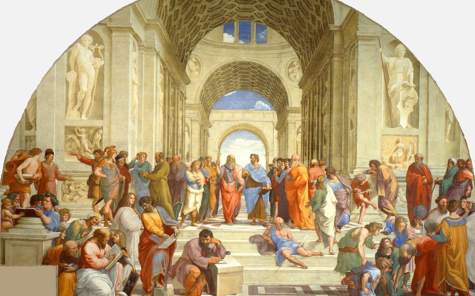 Une vue de la célèbre fresque de Raphaël montrant plusieurs des grands philosophes de l'Antiquité, parfois sous les traits de ses contemporains. Au centre, on voit ainsi Platon tenant son dialogue le Timée mais sous les traits de Léonard de Vinci. © DP