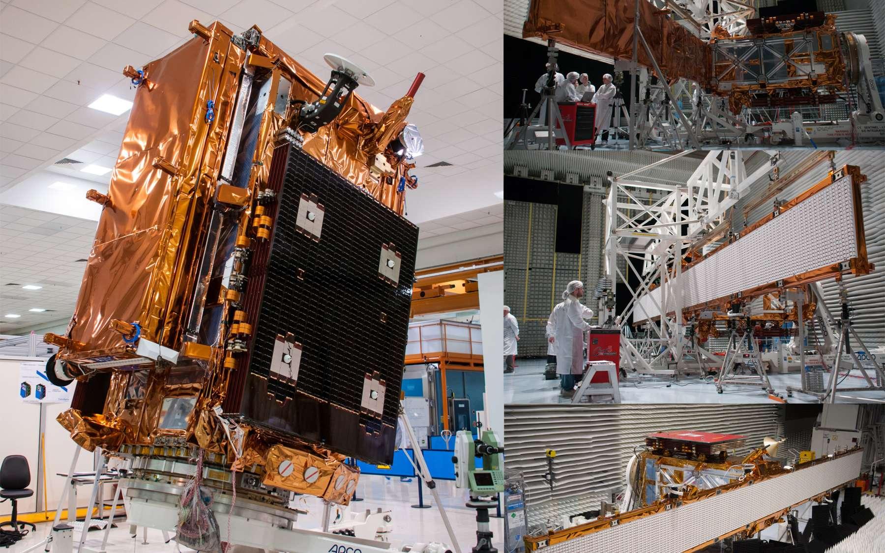 Sentinel 1A est un satellite d'imagerie radar tout temps et jour-nuit, capable d'observer à travers les nuages et la pluie à l'aide de son radar à synthèse d'ouverture en bande C. À l'image, le satellite et son radar déployé lors de ses essais de compatibilité électromagnétique dans l'usine cannoise de Thales Alenia Space (trois images de droite). © Rémy Decourt.