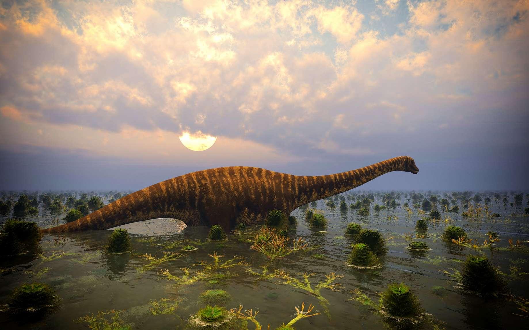 Illustration d'un sauropode satori. Il y a 140 millions d'années, l'environnement d'Angeac ressemblait à celui de la Floride ou de la Louisiane d'aujourd'hui. © fotolia