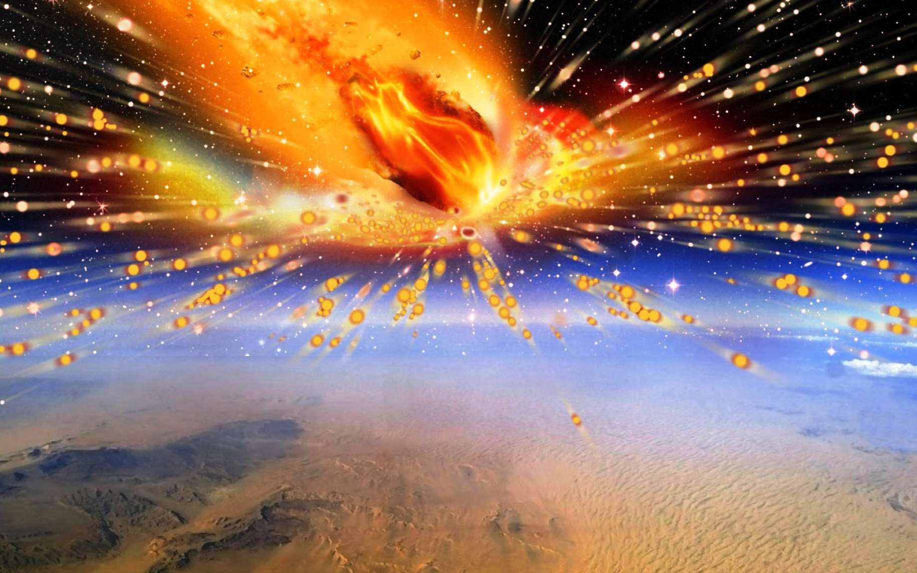 Hypatie est-elle le premier fragment de comète trouvé sur Terre ? Il y a 29 millions d'années, une comète aurait explosé en entrant dans l'atmosphère de la Terre au-dessus de l'actuel désert libyque. Le rayonnement thermique de la boule de feu en résultant aurait atteint au moins les 2.000 °C à la surface de notre Planète, faisant fondre le sable par endroits. Un fragment de cette comète aurait été retrouvé. Il a été baptisé « Hypatie », du nom de la célèbre astronome et mathématicienne d'Alexandrie. © Terry Bakker