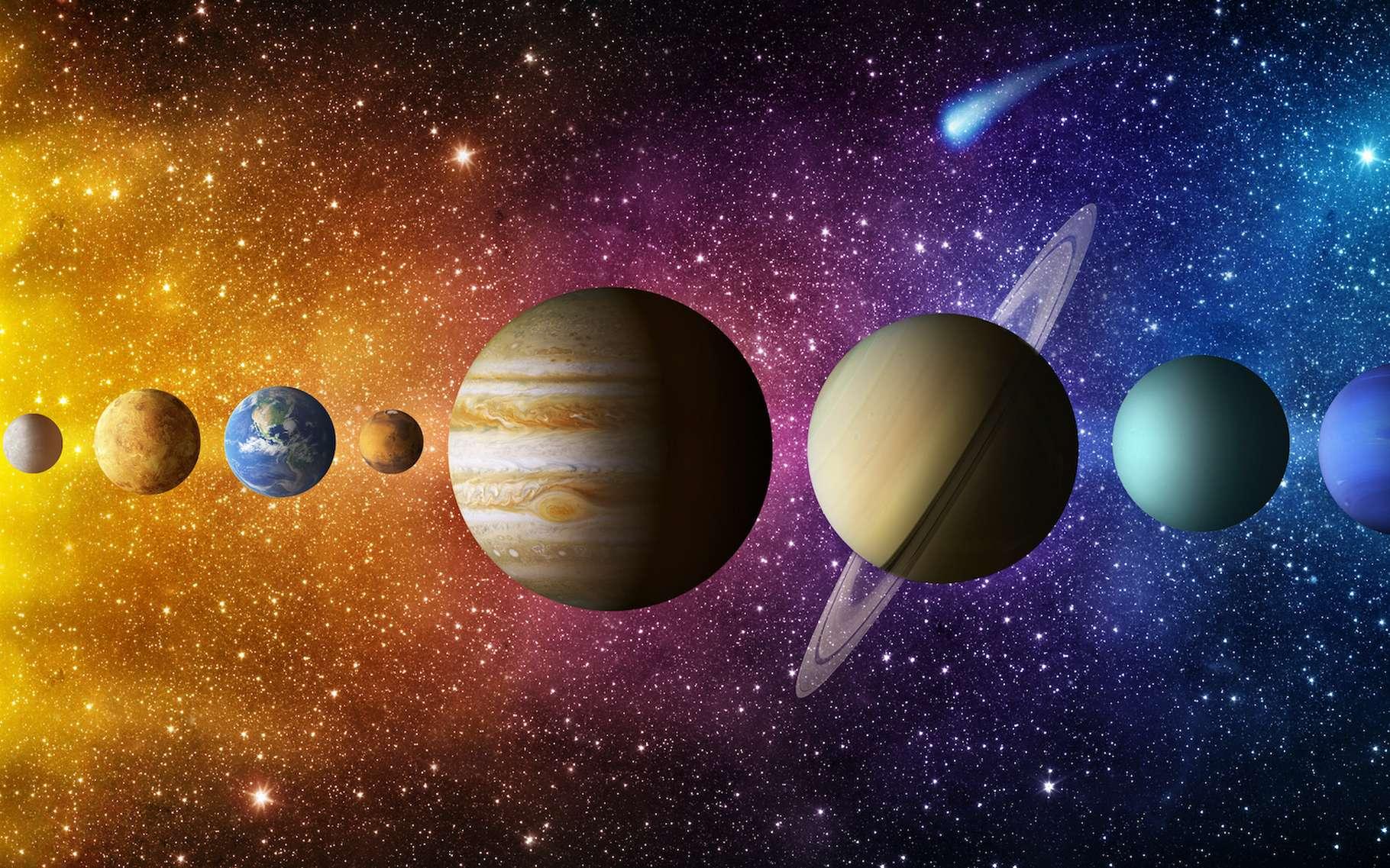 En astronomie, le terme opposition est employé pour désigner la position opposée de deux astres par rapport à la Terre. © Tryfonov, Adobe Stock