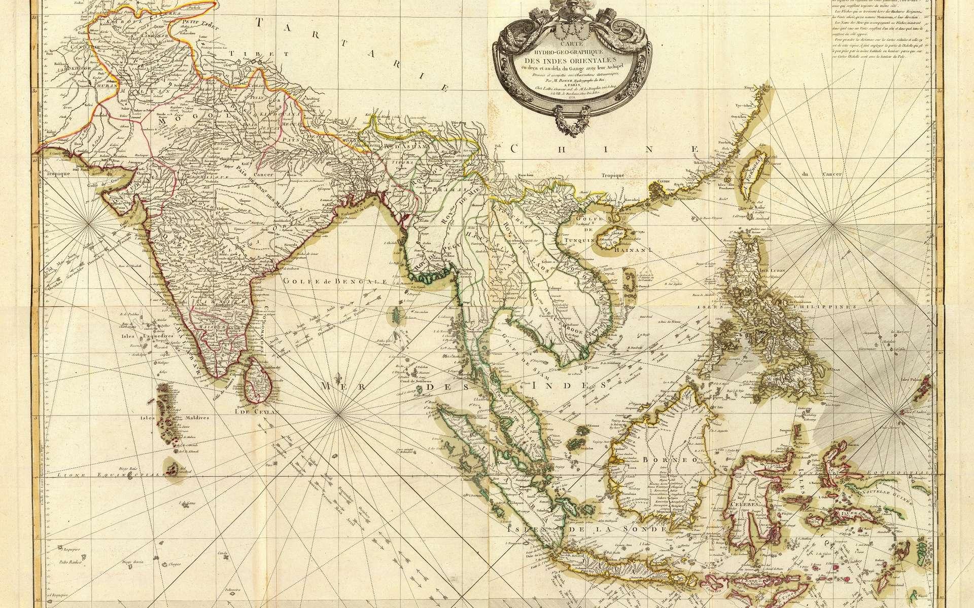 Carte hydro-géographique des Indes orientales (Inde et Asie du sud-est) dressée par le géographe-hydrographe du roi Louis XV et imprimée à Paris en 1771. © Wikimedia Commons, domaine public