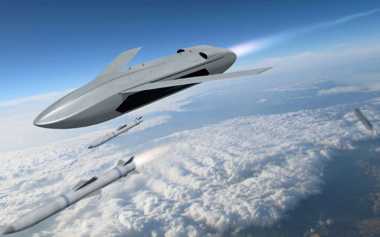 Le concept de drone LongShot pourrait être largué d'un chasseur ou d'un bombardier et aller au plus près de sa cible pour tirer ses missiles air-air. © Darpa