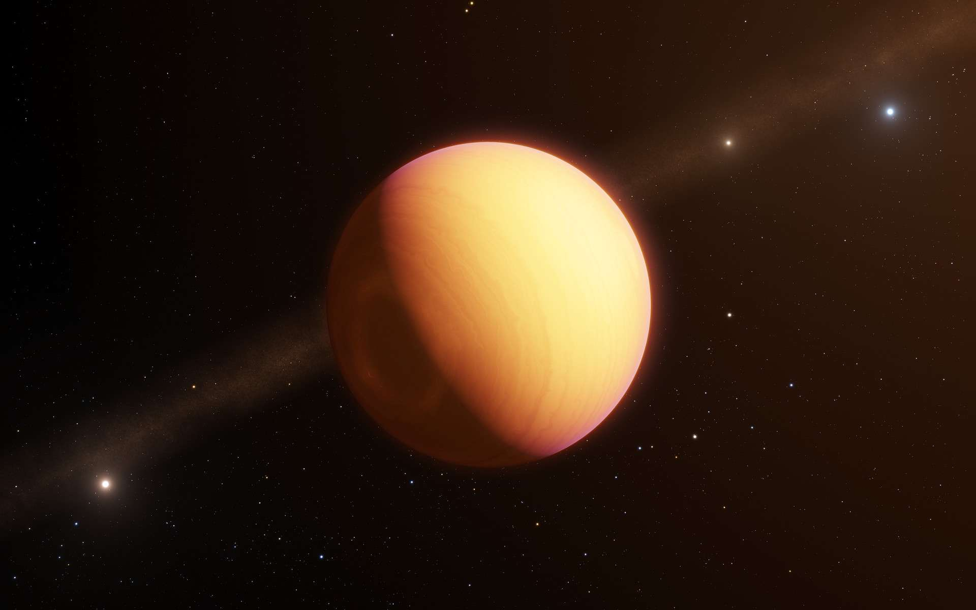 L'instrument Gravity, qui équipe l'Interféromètre du Very Large Telescope (VLTI) de l'ESO, a effectué la première observation directe d'une exoplanète au moyen de l'interférométrie optique. Cette technique a révélé l'existence d'une atmosphère exoplanétaire complexe, composée de nuages de fer et de silicates emportés dans une tempête à l'échelle planétaire. Cette technique offre des possibilités uniques de caractériser nombre d'exoplanètes connues à ce jour. Sur cette vue d'artiste, figure l'exoplanète observée, baptisée HR8799e. © ESO/L. Calçada