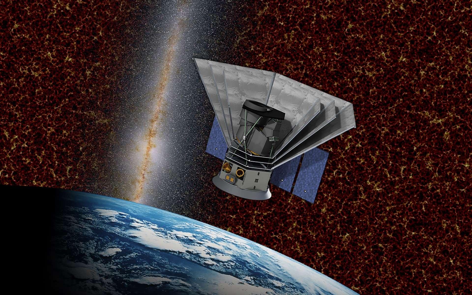 Vue d'artiste du satellite SPHEREx de la Nasa qui sera lancé en 2023. Son objectif est d'explorer les origines de l'univers et de la vie. © Nasa, Caltech