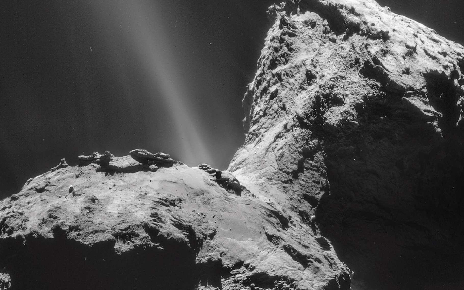 Un sursaut d'activité a été observé par chance par la sonde Rosetta le 19 février 2016 dans la région d'Atum, sur le plus grand des deux lobes de la comète Tchouri. Ici, la comète est photographiée avec la NavCam de Rosetta le 31 janvier 2015 (mosaïque de 4 images). Depuis de longs mois, l'activité la plus forte est observée dans la région du cou. © Esa, Rosetta, NavCam – CC BY-SA IGO 3.0