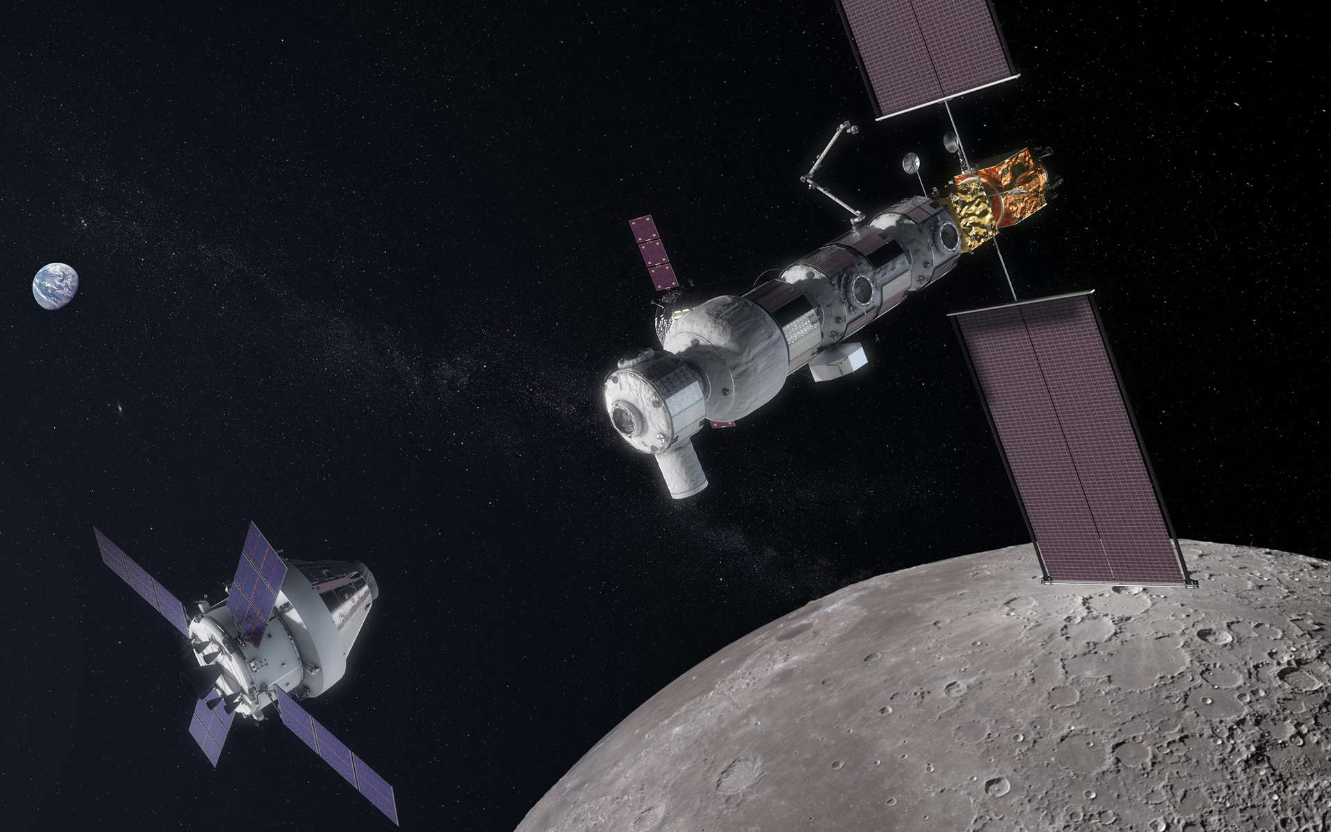 Vue d'artiste de la future station spatiale lunaire Gateway. Cet avant-poste de l'exploration humaine est un projet international dirigé par la Nasa, dont le premier élément sera lancé d'ici quelques années avec comme objectif une mise en service partiel d'ici 2024-2025. © Nasa