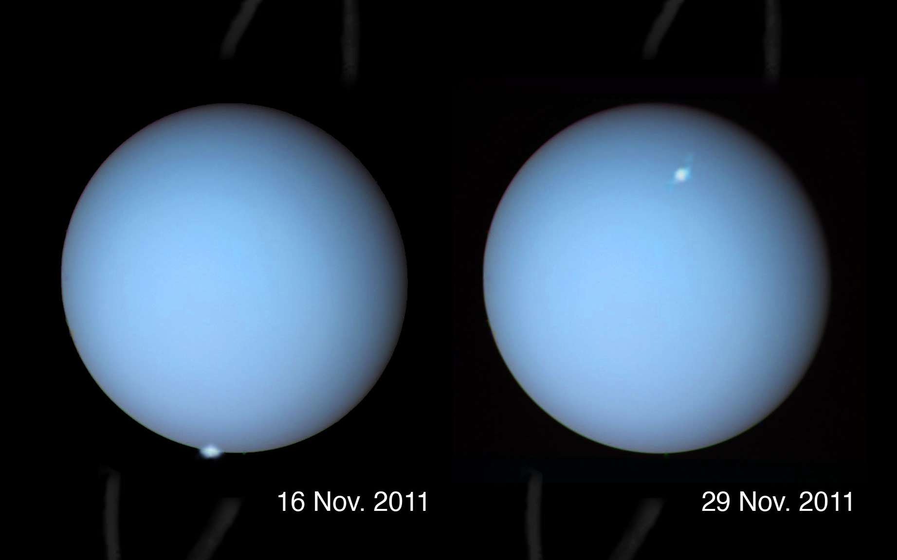 En novembre 2011 le télescope spatial Hubble a photographié des aurores sur Uranus, un phénomène que seule la sonde Voyager 2 avait pu enregistrer il y a 26 ans. © Nasa/Observatoire de Paris/Laurent Lamy