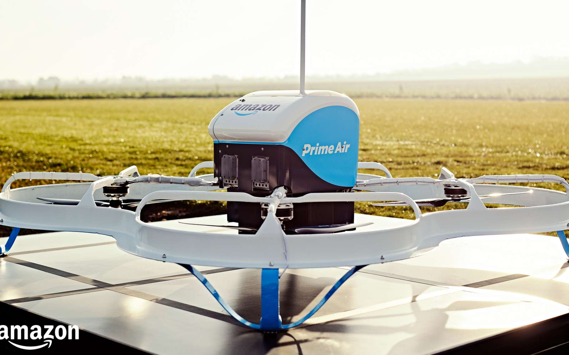 Voici la nouvelle version du drone livreur qu'Amazon teste actuellement en Angleterre. © Amazon