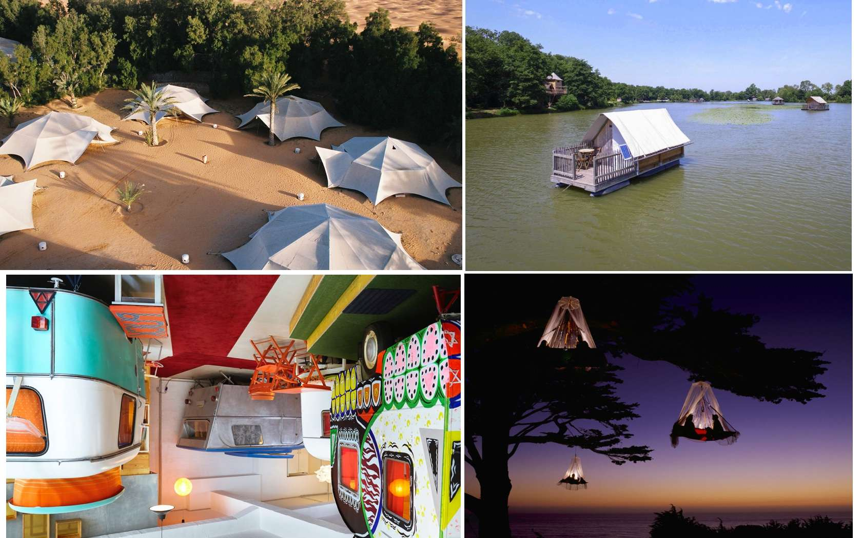 Des campings insolites autour du monde. © Domaine de la Dombes, Waldseilgarden, HüttenPalast, Atlante