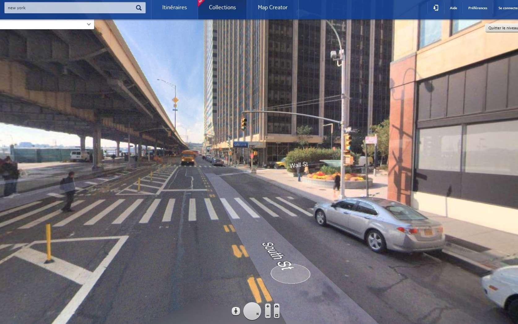 Here dispose également d'une vue à 360° des rues de quelques grandes villes. Le système ressemble fort à celui de Google avec son Street View. Pour le moment Here est disponible via le navigateur Web d'un ordinateur, d'une tablette ou d'un smartphone. Dans peu de temps, en plus de Windows Phone et de ses propres téléphones, Nokia proposera une application native pour iOS, Android et même Firefox OS, le futur système d'exploitation pour smartphone de Mozilla. © Eureka Presse