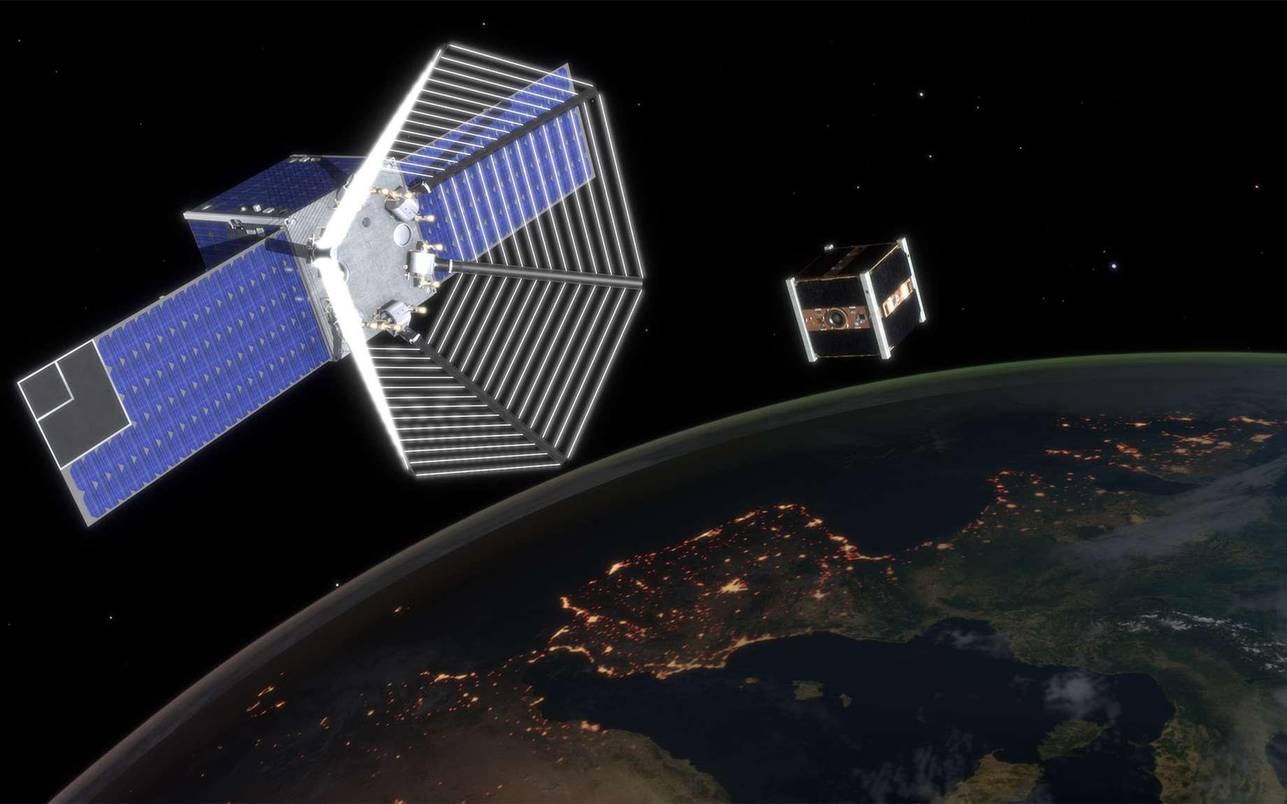 CleanSpace One (que l'on voit sur ce dessin s'apprêtant à capturer un satellite en fin de vie) doit démontrer qu'il est possible de rejoindre un objet, en l'occurrence le petit satellite suisse SwisseCube, afin de le désorbiter. © EPFL, J.Caillet