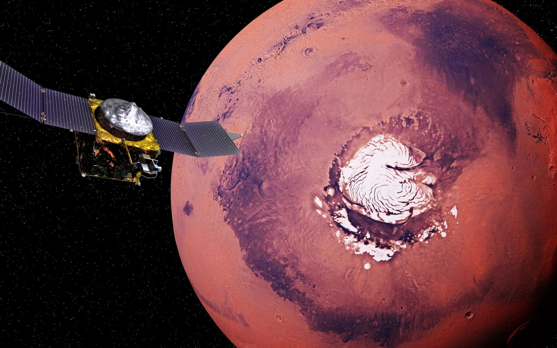 Illustration de la sonde Maven survolant le pôle nord de Mars. © dottedyeti, Adobe Stock