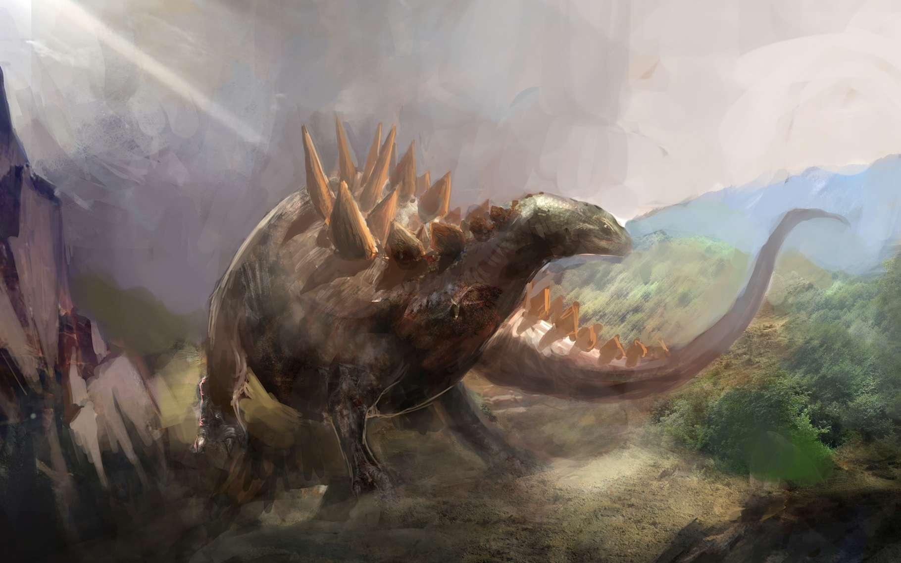 Les stégosaures étaient des dinosaures herbivores de grande taille. Des chercheurs viennent d'en identifier l'empreinte la plus petite jamais découverte. Celle d'un bébé stégosaure pas plus grand qu'un chat. © vukkostic, Adobe Stock