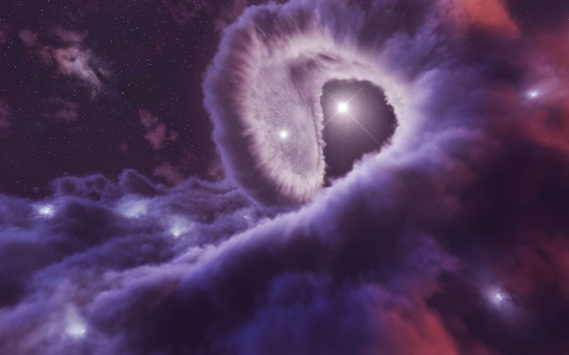 Dans la région où les vents stellaires des deux géantes bleues qui composent le système Eta Carinae se rencontrent, les particules subatomiques sont accélérées jusqu'à produire un rayonnement gamma de très haute énergie. © Laboratoire de communication scientifique du Desy