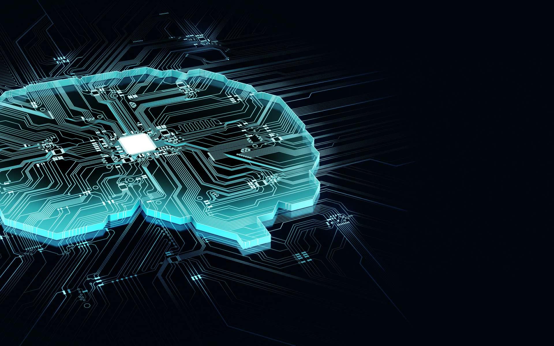 Schéma très simplifié d'un réseau neuronal. Les deux neurones de gauche (en vert) reçoivent les informations. Le traitement de ces données est déterminé par leurs connexions avec les neurones internes (en bleu). Les neurones qui reçoivent une donnée sont activés. L'information finale est envoyée sur le dernier neurone (en jaune) ou sur l'organe effecteur (un moteur par exemple). © Adobe Stock, Lee