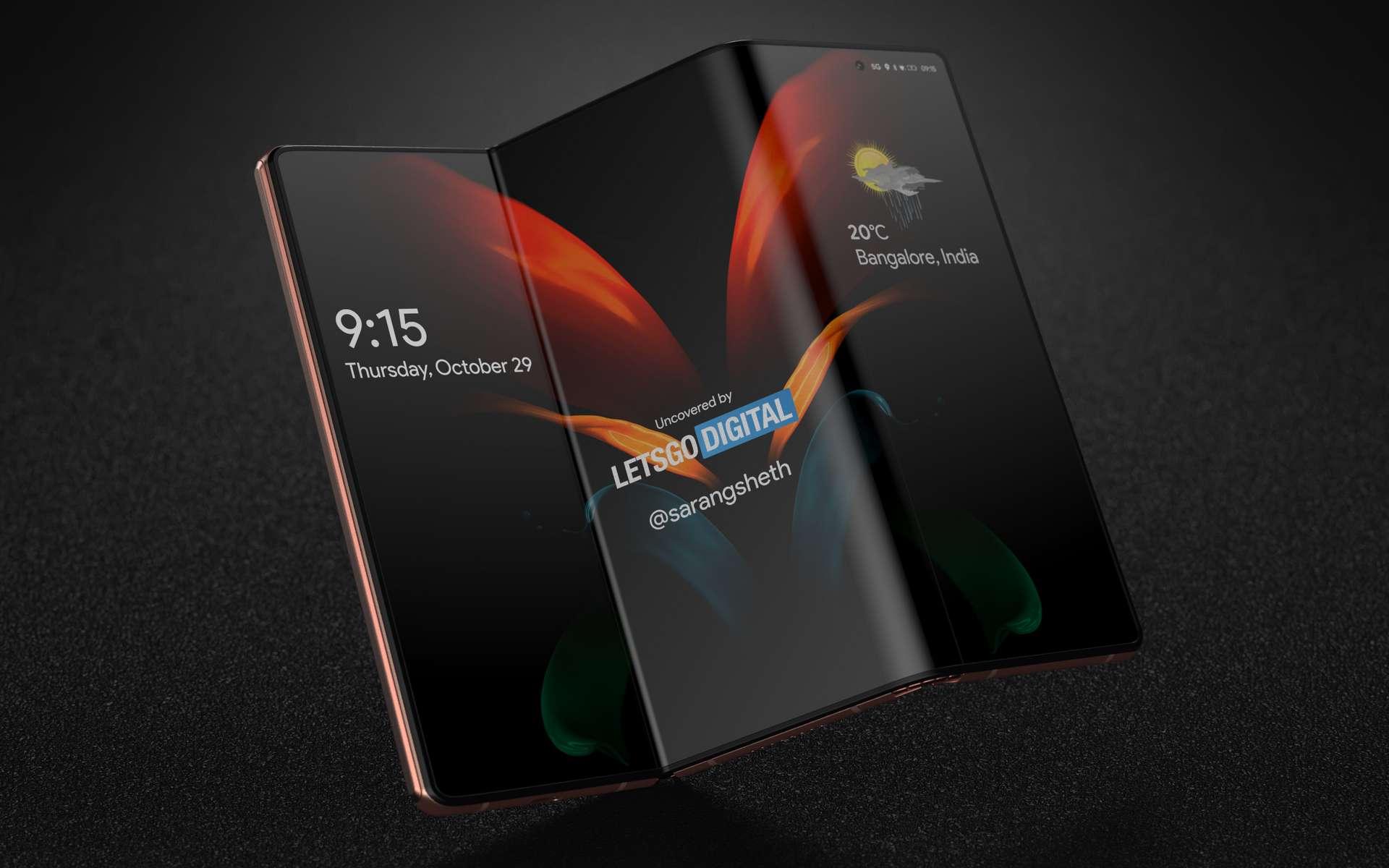 Le prochain smartphone Samsung pourrait proposer trois écrans pour offrir une surface d'affichage digne d'une tablette. © LetsGoDigital