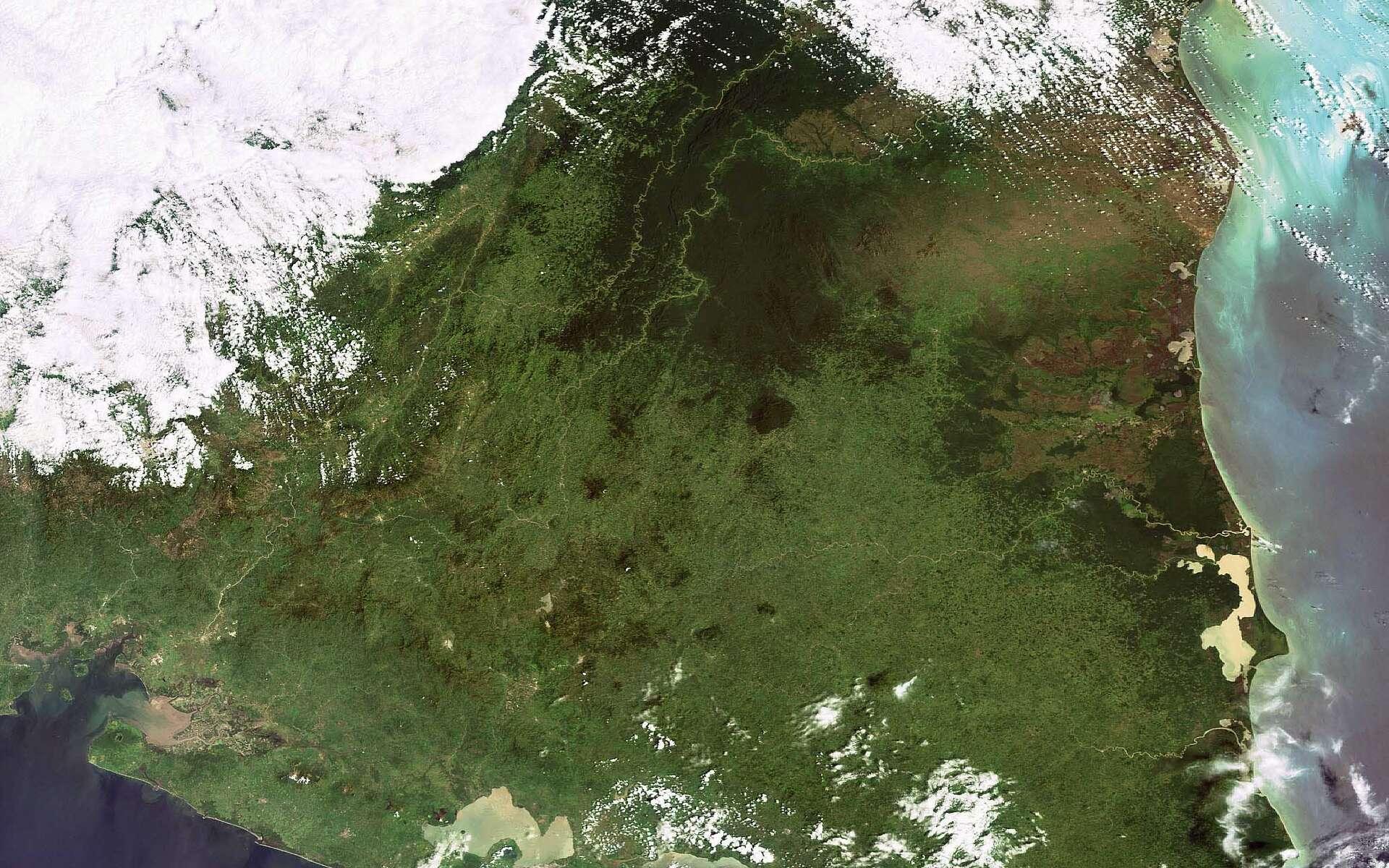 Cette image d'Envisat couvre la République du Nicaragua, située en Amérique Centrale entre le Honduras au nord, le Costa Rica au sud, la Mer des Caraïbes à l'est (à droite) et l'Océan Pacifique à l'ouest. La résolution est de 300 mètres par pixel. Crédit Esa