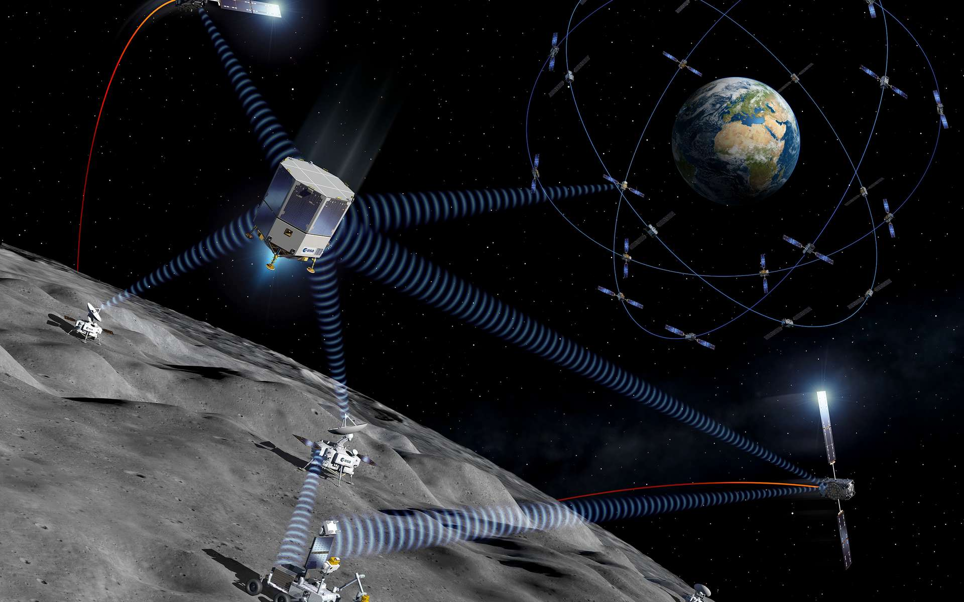 Moonlight, un projet de constellation de satellites lunaires commercialement viable pour fournir des services de télécommunications et de navigation pour les missions sur la Lune. © ESA, P. Carril