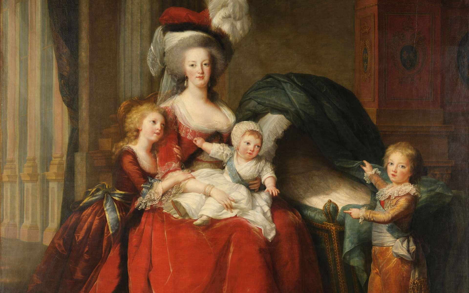 Les trois enfants de Marie-Antoinette et le berceau représentant la benjamine, décédée à 11 mois. © Wikimedia Commons, Domaine public