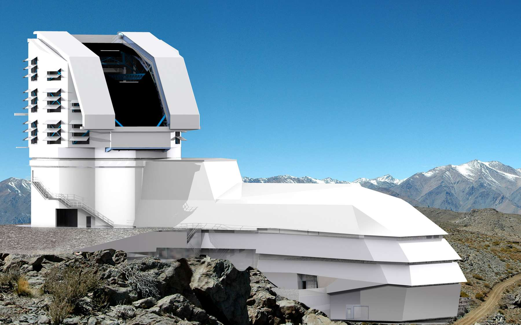 Le LSST sera construit à 2.700 m d'altitude, sur le site du Cerro Pachón, choisi dès 2006 pour son ciel sans nuage, son faible niveau de pollution lumineuse et son climat sec. Le site accueille déjà de nombreuses infrastructures et notamment deux autres télescopes d'envergure : le Gemini Sud et le Southern Astrophysical Research Telescope (SOAR). © LSST Science Team