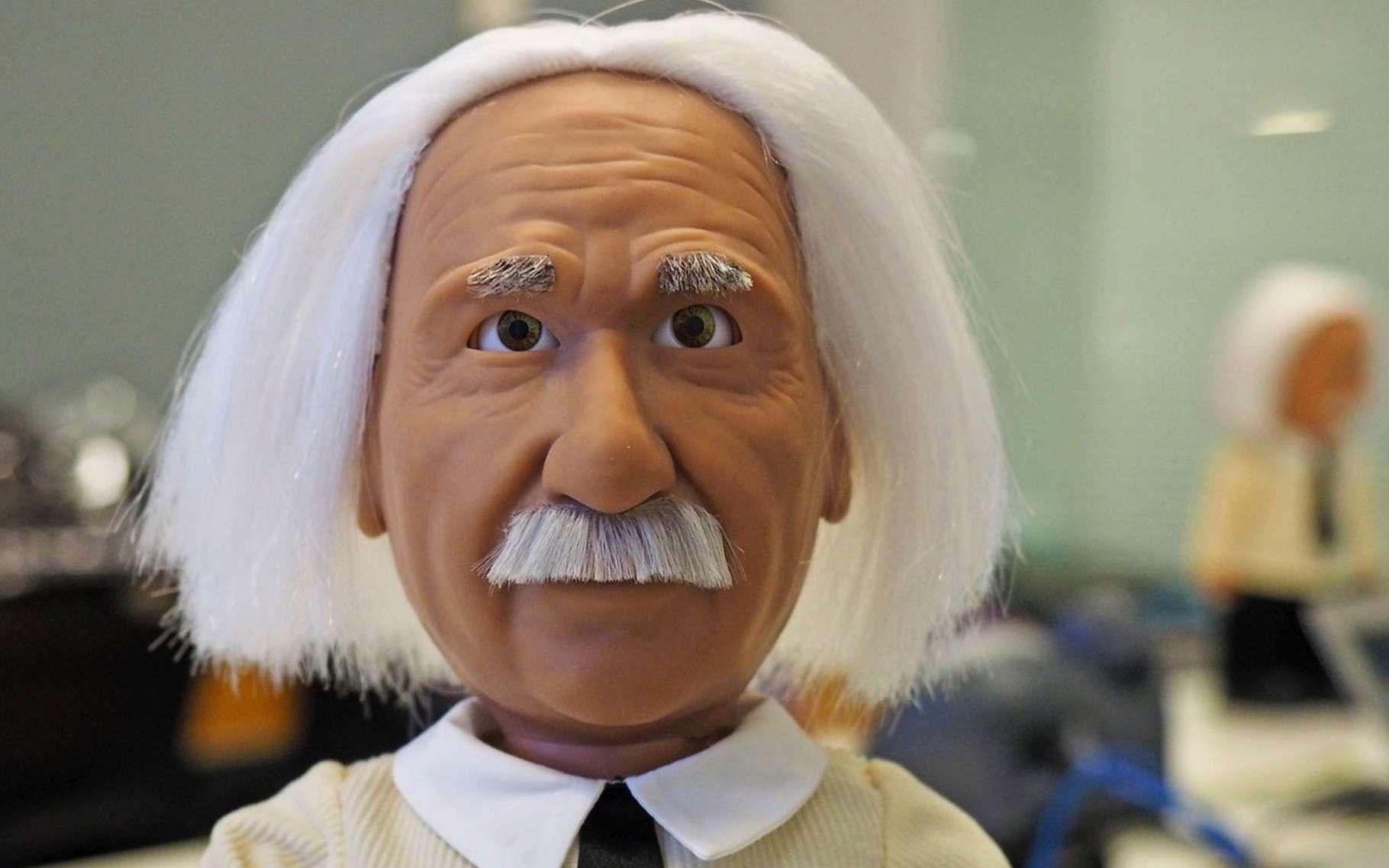 Conçu par Hanson Robotics, le « Professor Einstein » se veut à la fois un agent conversationnel pour les adultes et un outil éducatif pour les enfants. © Hanson Robotics