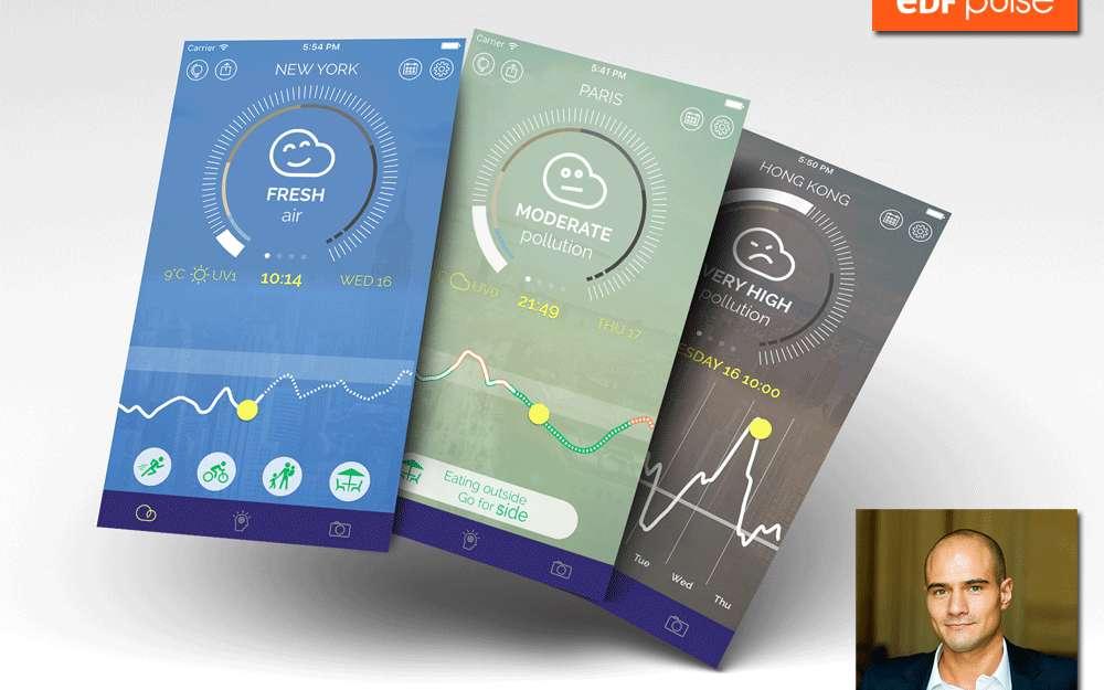 L'application Plume Air Report, imaginée par Romain Lacombe, fournit une information synthétique sur la qualité de l'air d'une ville, en temps réel, et pronostique les pics de pollution. © Lacombe