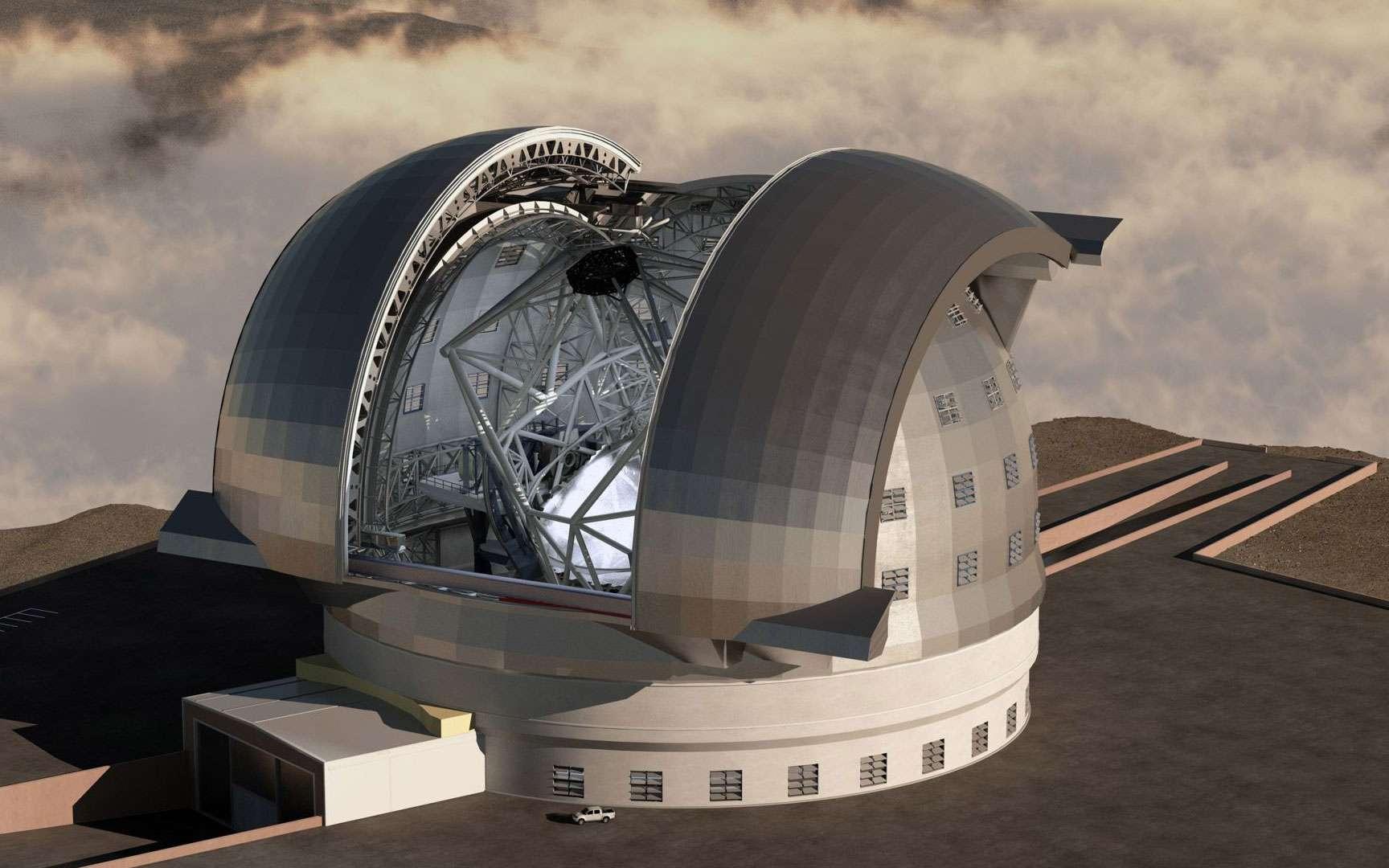 Le télescope E-ELT, un œil de géant tourné vers le ciel. De tous les projets de télescopes géants, l'E-ELT, de l'Eso, est le plus grand. Avec un miroir de 39 mètres de diamètre, il surpassera les 30 mètres du TMT (Thirty Meter Telescope), les sept miroirs de 8,4 mètres du télescope géant Magellan et les deux miroirs de 8,6 mètres du Large Binocular Telescope (LBT). © Eso