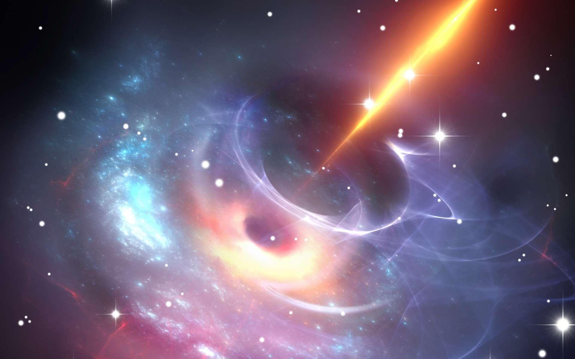 Des chercheurs de l'Institut national d'astrophysique italien de Milan ont observé le blazar le plus lointain jamais observé. Il se situe à 12,8 milliards d'années-lumière de notre Terre. Ici, une vue d'artiste d'un blazar. © Peter Jurik, Adobe Stock