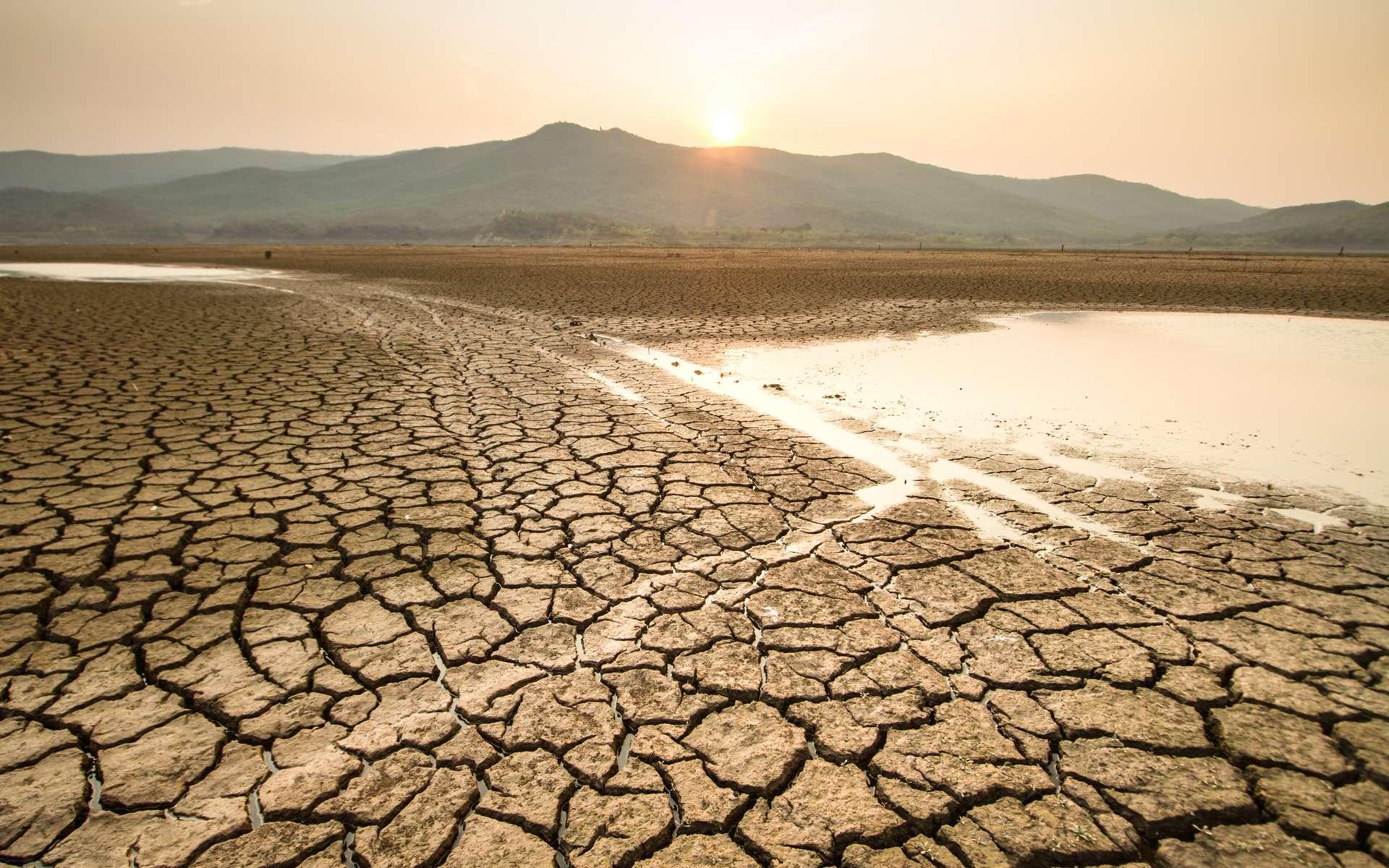 Lac asséché par des vagues de chaleurs extrêmes, elles-mêmes causées par le réchauffement climatique. © piyaset, Adobe Stock