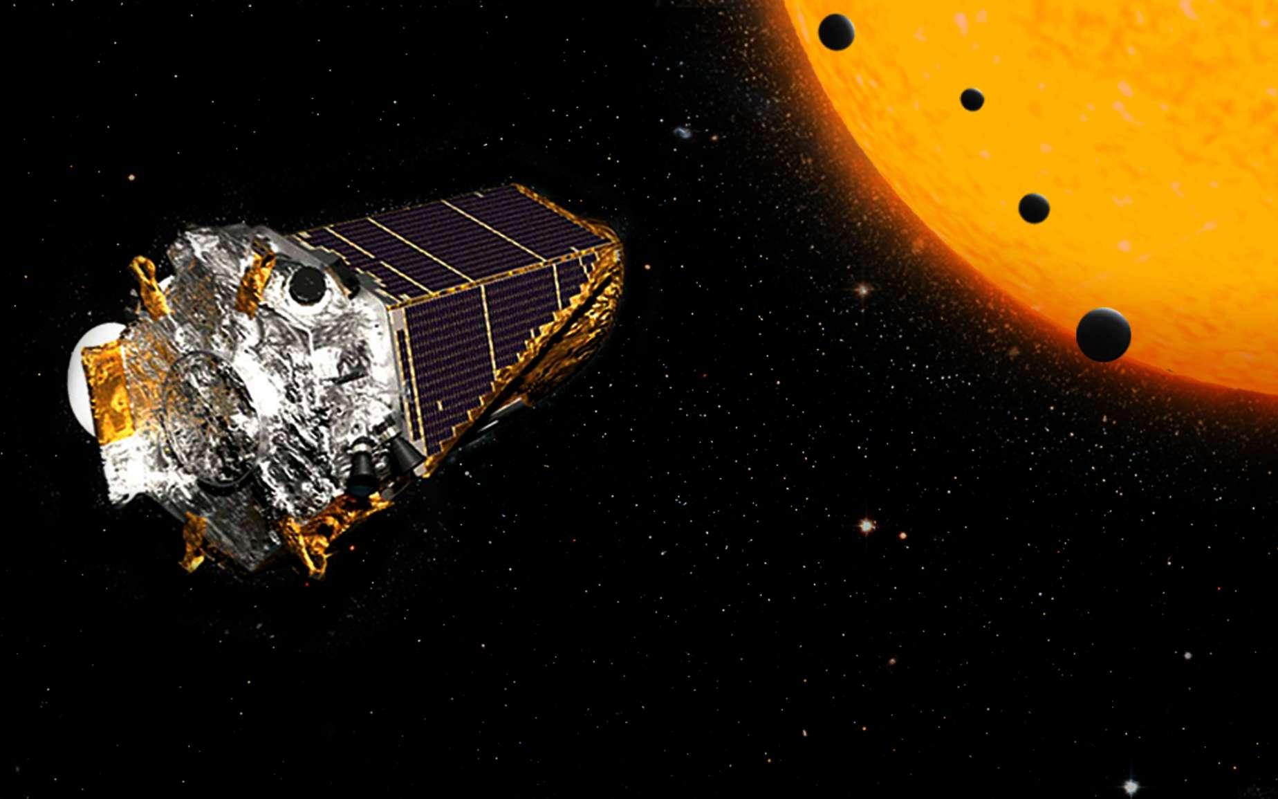Une vue d'artiste d'exoplanètes en transit devant une étoile, observées par Kepler. © Nasa