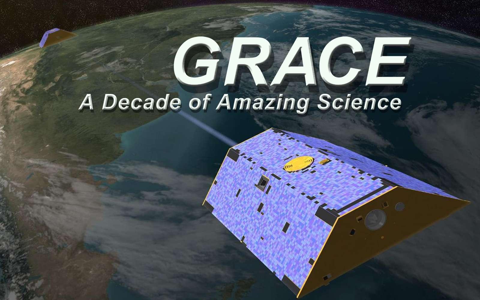 Le programme Grace (pour Gravity Recovery and Climate Experiment) est dédié à la mesure précise du champ de gravité terrestre. Il repose sur deux satellites jumeaux, lancés en 2002. Il a permis à la communauté scientifique de dresser une cartographie précise de l'intensité du champ gravitationnel terrestre. © Nasa