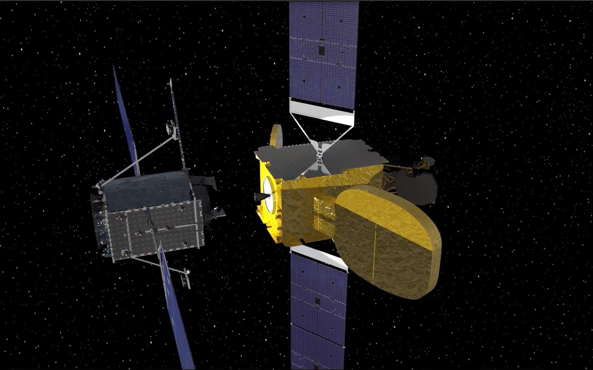 Vue d'artiste du remorqueur spatial MEV de Northrop Grumman qui vient s'amarrer au satellite Intelsat 901 de façon à accroître sa durée de vie de plusieurs années. Ce module sera utilisé comme système de propulsion additionnel et permettra toutes les manœuvres orbitales nécessaires au bon positionnement du satellite. © Northrop Grumman